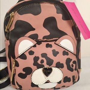 Betsey Johnson Purse Mini Backpack Leopard Bear